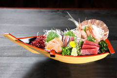 Close up shot of sashimi boat stock image