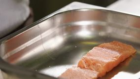 Close up shot of sea trout, the cook sprinkles an appetizing piece of salt fish. Close up shot of a piece of sea trout, the cook gently sprinkles an appetizing stock footage