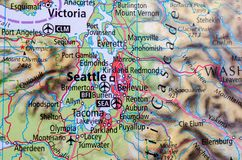 Seattle on map. Close up shot of Seattle. is a seaport city on the west coast of the United States Stock Photos