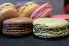 Close up shot of a selection of Macarons or French Macaroons fro. M Parisian Pastry Shop royalty free stock photography