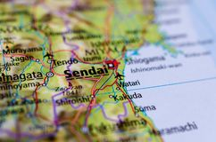 Sendai on map. Close up shot of Sendai. is the capital city of Miyagi Prefecture, Japan, the largest city in the Tōhoku region Stock Photography