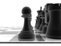 Close up shot of a set of black chess pieces Royalty Free Stock Images