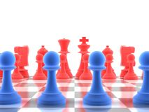 A close-up shot of a set of chess pieces. With focus on the distance Royalty Free Stock Images