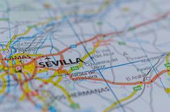 Sevilla on map. Close up shot of Sevilla or Seville on map, is the capital of Andalusia and the cultural and financial center of southern Spain Stock Photography