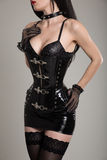 Close-up shot of sexy gothic girl in leather corset Royalty Free Stock Images