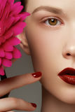 Close-up shot of sexy woman lips with red lipstick and beautiful Stock Images