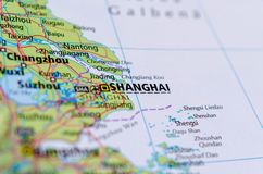 Shanghai on map. Close up shot of Shanghai. is one of the four direct-controlled municipalities of China and the most populous city in the world Stock Photo