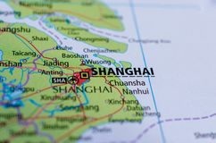 Shanghai on map. Close up shot of Shanghai. is one of the four direct-controlled municipalities of China and the most populous city in the world Stock Photos