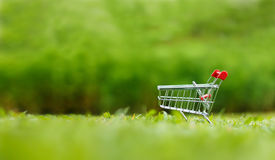 Close up shot of shopping cart over nature green background shal Stock Image