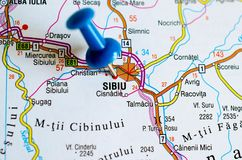 Sibiu on map. Close up shot of Sibiu on map with blue push pin Stock Image
