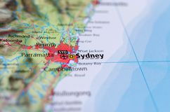 Sidney on map. Close up shot of Sidney on map.is the state capital of New South Wales and the most populous city in Australia and Oceania Royalty Free Stock Image