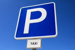 Parking for Taxis. A close-up shot of a sign for Taxi Parking Royalty Free Stock Photo