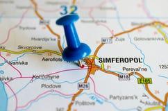 Simferopol on map. Close up shot of Simferopol on map with blue push pin stock image