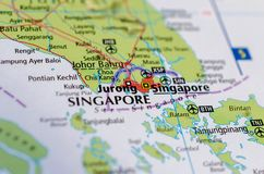 Singapore on map. Close up shot of Singapore. is a sovereign city-state and island country in Southeast Asia stock images