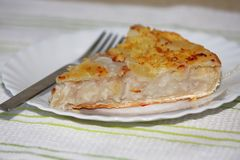 Close up shot of an slice of a buko pie- Royalty Free Stock Photo