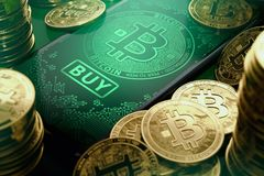 Close-up shot on a smartphone screen with Bitcoin image and big BUY button on the display. Bitcoin buy opportunities concept. 3D stock illustration