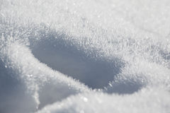 Close up shot of snow. Snowy ground with pretty christalline structure Stock Images