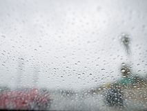 Close up shot of some water drops. With car, city as background at Los Angeles, California stock photo