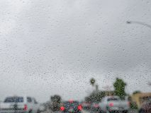 Close up shot of some water drops. With car, city as background at Los Angeles, California royalty free stock photos