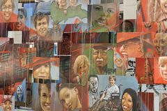 Close up shot of the special Wall of painted Art images on the A. Horizontal image has displayed many printed art canvaces by local artists. the exposition of Stock Photos