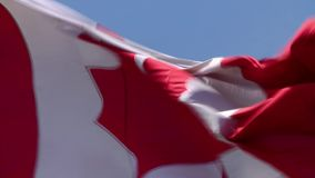 Close up shot on spectacular red white maple flag national symbol banner of Canada waving in wind on blue sky background. Close up shot on fascinating red white stock footage