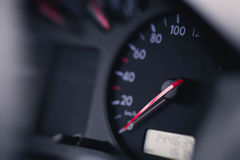 Close up shot of a speedometer in  car Stock Photo