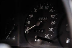 Close up shot of a speedometer in a car.  Stock Photos