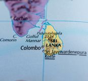 Sri Lanka on map. Close up shot of Sri Lanka. officially the Democratic Socialist Republic of Sri Lanka, is an island country in South Asia, located to the Stock Photo