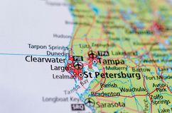 St. Petersburg, Florida on map. Close up shot of St. Petersburg, Florida. is a city in Pinellas County, Florida, United States stock image
