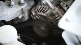 Close up shot of Starter motor and engine ignition start with sound stock video