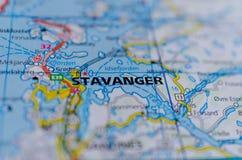 Stavanger on map Royalty Free Stock Image