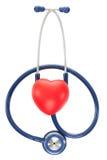 Close up shot of stethoscope and toy heart on white background - studio shot Stock Photos