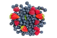 Close up shot of strawberry, bilberry and raspberry Royalty Free Stock Photography