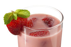 Close up shot of strawberry milkshake Stock Image
