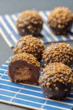 Close up shot of chocolate balls covered with yellow seeds filled with cream setup on a blue tray royalty free stock photography