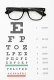 Close up shot of a table for eyesight test with glasses over it Stock Image
