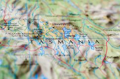 Tasmania on map. Close up shot of Tasmania on map. abbreviated as Tas and known colloquially as Tassie is an island state of Australia Royalty Free Stock Images