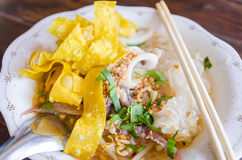 Close up shot - thai noodle with yellow fried wonton Stock Photos
