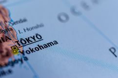Tokyo on map. Close up shot of Tokyo. is the capital city of Japan royalty free stock images