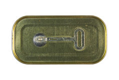 Close-up shot of the top of a golden can,The key can opener. Royalty Free Stock Photography