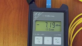 Close up shot with top of the Optical Power Meter stock video