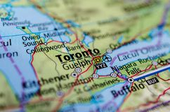 Toronto on map. Close up shot of Toronto. is the capital of the Canadian province of Ontario Stock Images