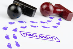Close up shot of traceability stamp with footprints path. Stock Image