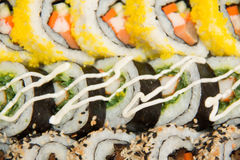 Close-up shot of traditional fresh japanese sushi rolls, focus on the front piece Royalty Free Stock Photography