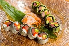 Close-up shot of traditional organic japanese sushi rolls stock photo