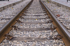 Close up shot of train railway. Stock Photo