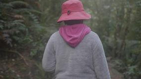 A close up shot of travel woman being outdoors in the forest stock video