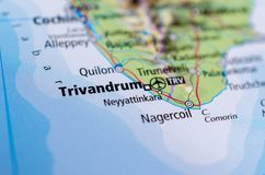 Trivandrum on map. Close up shot of Trivandrum. Thiruvananthapuram is the capital and the largest city of the Indian state of Keralaapuram Stock Photos