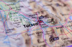 Tucson, Arizona on map. Close up shot of Tucson, Arizona. is a city and the county seat of Pima County, Arizona Stock Photo