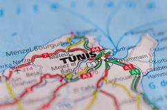 Tunis on map. Close up shot of Tunis on a map Stock Photos